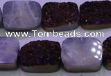 CAG8245 Top drilled 15*20mm rectangle purple plated druzy agate beads