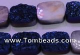 CAG8246 Top drilled 15*20mm rectangle blue plated druzy agate beads