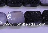 CAG8247 Top drilled 15*20mm rectangle black plated druzy agate beads