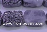 CAG8252 Top drilled 18*25mm rectangle silver plated druzy agate beads