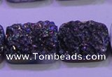 CAG8254 Top drilled 18*25mm rectangle rainbow plated druzy agate beads