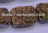 CAG8263 Top drilled 20*30mm rectangle glod plated druzy agate beads
