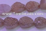 CAG8271 7.5 inches 10*14mm teardrop champagne plated druzy agate beads