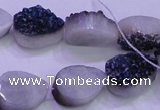 CAG8276 7.5 inches 10*14mm teardrop blue plated druzy agate beads