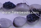 CAG8286 7.5 inches 12*16mm teardrop blue plated druzy agate beads