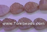 CAG8291 7.5 inches 13*18mm teardrop champagne plated druzy agate beads