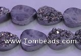 CAG8292 7.5 inches 13*18mm teardrop silver plated druzy agate beads