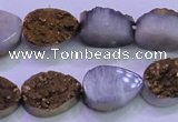 CAG8293 7.5 inches 13*18mm teardrop gold plated druzy agate beads