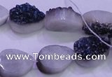 CAG8296 7.5 inches 13*18mm teardrop blue plated druzy agate beads