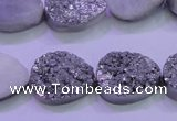 CAG8302 7.5 inches 15*20mm teardrop silver plated druzy agate beads