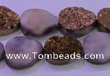 CAG8303 7.5 inches 15*20mm teardrop gold plated druzy agate beads