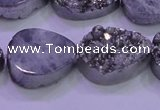 CAG8312 7.5 inches 18*25mm teardrop silver plated druzy agate beads