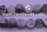 CAG8332 7.5 inches 10mm coin silver plated druzy agate beads