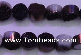 CAG8335 7.5 inches 10mm coin purple plated druzy agate beads