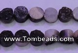 CAG8337 7.5 inches 10mm coin black plated druzy agate beads