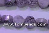 CAG8342 7.5 inches 12mm coin silver plated druzy agate beads