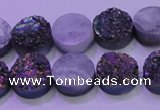 CAG8344 7.5 inches 12mm coin rainbow plated druzy agate beads