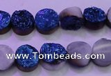 CAG8346 7.5 inches 12mm coin blue plated druzy agate beads