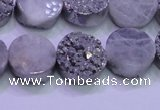 CAG8352 7.5 inches 14mm coin silver plated druzy agate beads
