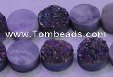 CAG8354 7.5 inches 14mm coin rainbow plated druzy agate beads