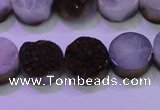 CAG8355 7.5 inches 14mm coin purple plated druzy agate beads