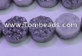 CAG8362 7.5 inches 16mm coin silver plated druzy agate beads