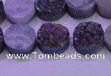 CAG8364 7.5 inches 16mm coin rainbow plated druzy agate beads