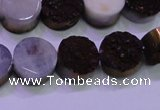 CAG8365 7.5 inches 16mm coin purple plated druzy agate beads