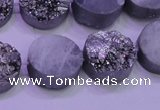 CAG8372 7.5 inches 18mm coin silver plated druzy agate beads