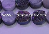 CAG8374 7.5 inches 18mm coin rainbow plated druzy agate beads