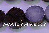CAG8385 7.5 inches 20mm coin purple plated druzy agate beads