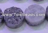 CAG8392 7.5 inches 25mm coin silver plated druzy agate beads