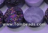 CAG8394 7.5 inches 25mm coin rainbow plated druzy agate beads