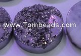 CAG8412 7.5 inches 35mm coin silver plated druzy agate beads