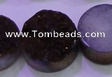 CAG8415 7.5 inches 35mm coin purple plated druzy agate beads