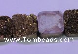 CAG8426 7.5 inches 22*22mm square gold plated druzy agate beads