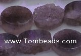 CAG8444 15.5 inches 15*20mm oval grey druzy agate gemstone beads
