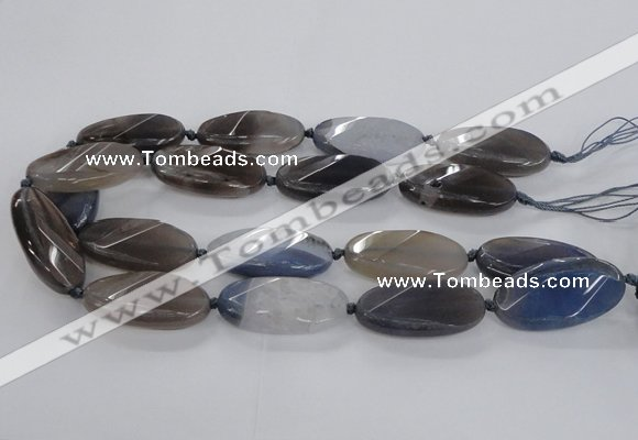 CAG8568 20*40mm faceted & twisted oval grey agate beads wholesale