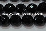 CAG8614 15.5 inches 14mm faceted round black agate gemstone beads