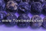 CAG8654 15.5 inches 12mm round matte blue ocean agate beads