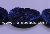 CAG8669 7.5 inches 22*30mm freeform blue plated druzy agate beads
