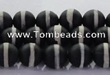CAG8690 15.5 inches 6mm round matte tibetan agate gemstone beads