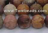 CAG8749 15.5 inches 12mm round matte rainbow agate beads