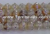 CAG8780 15.5 inches 6mm round agate with rhinestone beads