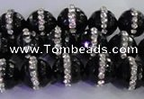 CAG8857 15.5 inches 10mm faceted round agate with rhinestone beads