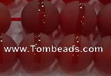 CAG8904 15.5 inches 12mm round matte red agate beads wholesale