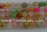 CAG8938 15.5 inches 4mm faceted round fire crackle agate beads
