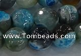 CAG8944 15.5 inches 8mm faceted round fire crackle agate beads