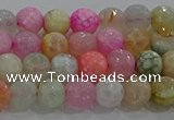 CAG8948 15.5 inches 6mm faceted round fire crackle agate beads