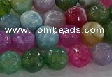 CAG8956 15.5 inches 8mm faceted round fire crackle agate beads